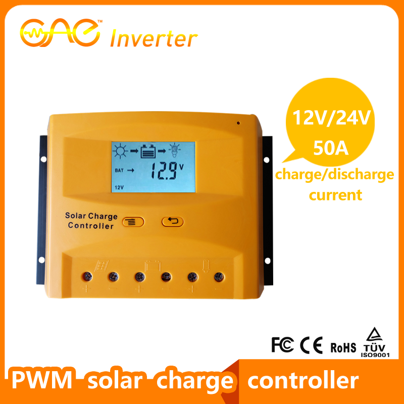 50A PWM solar charge controller 12V/24V/48V solar battery